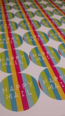 Happy Mail/Happy Post Sticker Set 37mm 4 Mixed Sheets Lovely Bright Designs